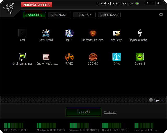 Click to view Razer Game Booster 3.5.6.22 screenshot