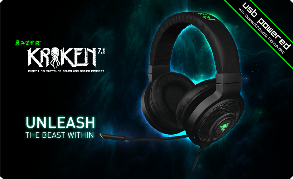 Razer Kraken 7.1 Gaming Headset  Surround Sound USB Gaming Headset ... 3a4a746116