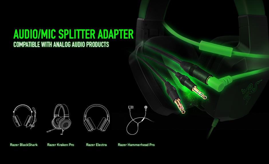 Razer Electra Audio Mic Splitter Adapter Gaming