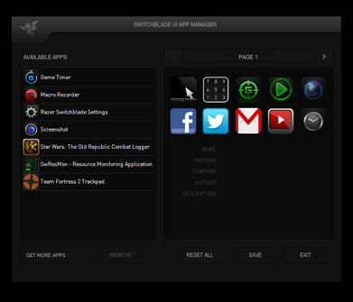Razer Switchblade User Interface - Multi-touch LCD Track