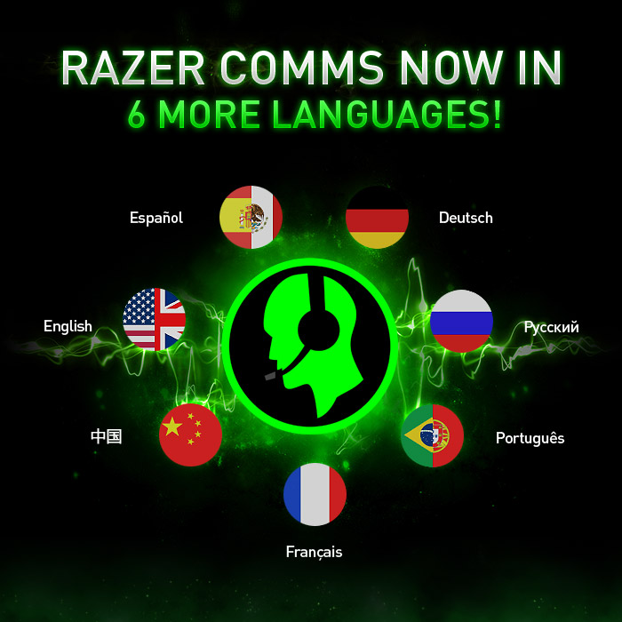 Razer Comms supports 6 more languages